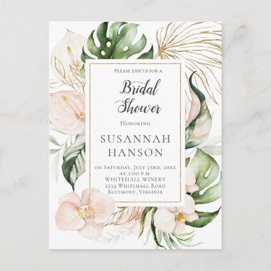 Blush Pink Gold Floral Tropical Bridal Shower Postcard
