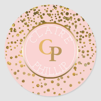 Blush Pink Gold Foil Confetti | Monogram Wedding Classic Round Sticker