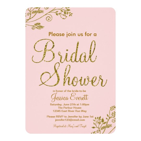 Blush Pink Gold Glitter Bridal shower Invitation Zazzlecom