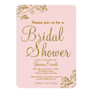 Blush Pink Gold Glitter Bridal shower Invitation