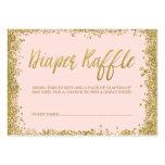 Blush Pink Gold Glitter Diaper Raffle Ticket Large Business Card