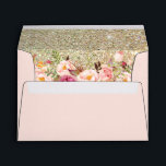 "Blush Pink Gold Glitter Floral with Return Address Envelope<br><div class=""desc"">Blush Pink Gold Glitter Floral with Return Address for 5x7 Card Envelope. 