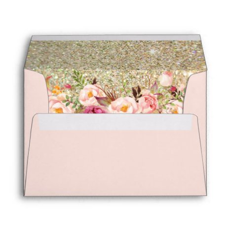 Blush Pink Gold Glitter Floral with Return Address Envelope