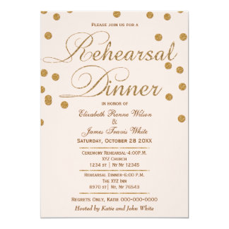 blush pink gold glitter rehearsal dinner invites