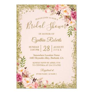 Blush Pink Gold Glitters Floral Bridal Shower Card