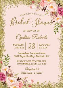 Pink bridal shower invitations zazzle blush pink gold glitters floral bridal shower invitation filmwisefo