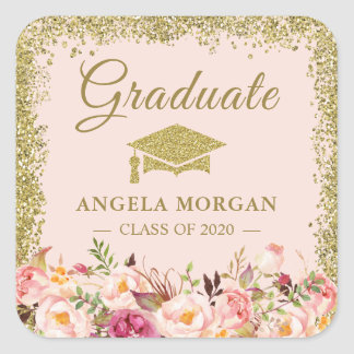 Blush Pink Gold Glitters Floral Graduation Favor Square Sticker
