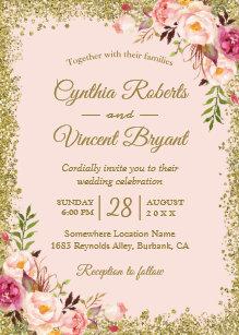 Blush Pink Gold Glitters Fl Wedding Invitation