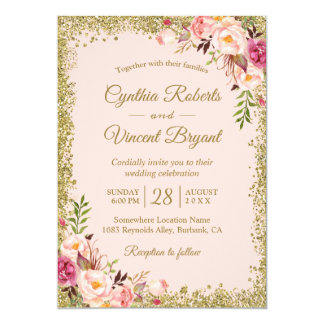 Blush Pink Gold Glitters Floral Wedding Invitation