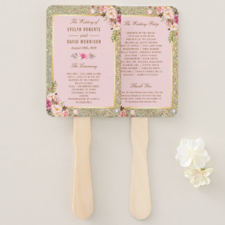 Blush Pink Gold Glitters Floral Wedding Program Hand Fan