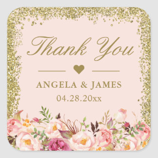 Blush Pink Gold Glitters Floral Wedding Thank You Square Sticker