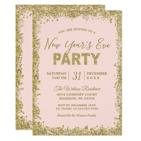 Blush Pink Gold Glitters New Year Eve Party Invitation
