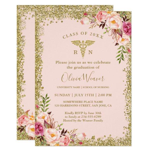 2018 graduation party invitations for medical nursing graduates blush pink gold glitters nursing school graduation invitation filmwisefo