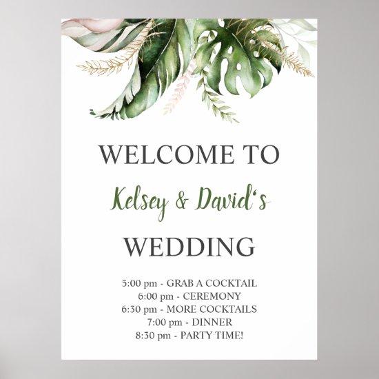 Blush Pink Gold Greenery Wedding Welcome Poster