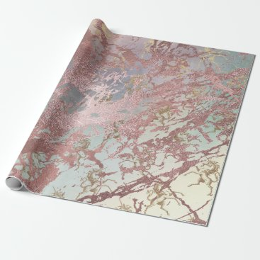 McTiffany Tiffany Aqua Blush Pink Gold Marble Shiny Fairly Aqua Unicorn Wrapping Paper