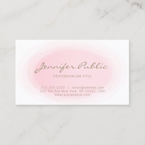 Blush Pink Gold Minimalist Elegant Design Trendy Business Card