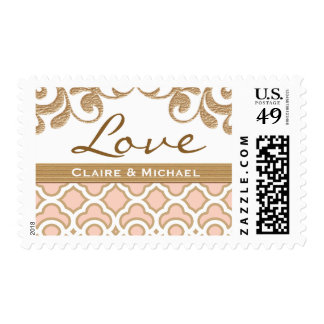 Blush Pink Gold Moroccan Love Wedding Postage