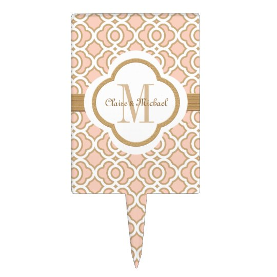Blush Pink Gold Moroccan Monogram Couples Cake Topper