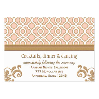 Blush Pink Gold Moroccan Reception Enclosure Cards Large Business Cards (Pack Of 100)