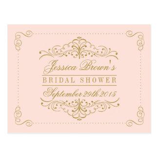 Blush Pink Gold Ornate Swirl Bridal Shower Recipe Postcard