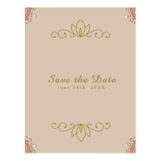Blush Pink & Gold Pearl Elegant Chic Save the Date Postcard