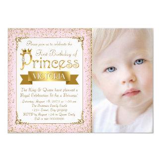 Blush Pink Gold Princess First Birthday Invitation
