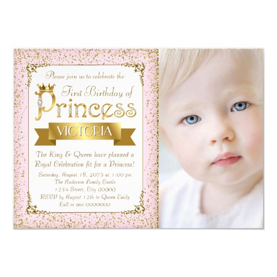 Blush Pink Gold Princess First Birthday Invitation