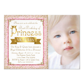 Blush Pink Gold Princess First Birthday Party Card