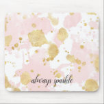 "Blush Pink Gold Splatters Abstract Mouse Pad<br><div class=""desc"">Blush Pink Gold Splatters Abstract always sparkle personalized inspirational quote</div>"