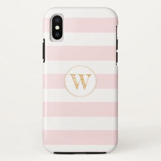 Blush Pink Gold stripe monogram phone case