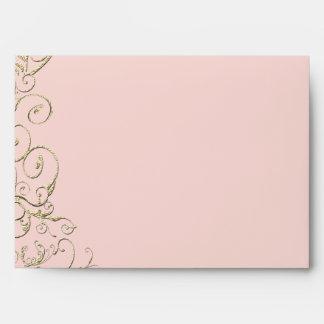 Blush Pink Gold Swirl Wedding Envelope