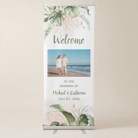 Blush Pink, Gold Tropical Greenery Wedding Retractable Banner