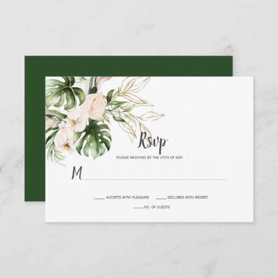 Blush Pink Gold Tropical Watercolor Floral Wedding RSVP Card