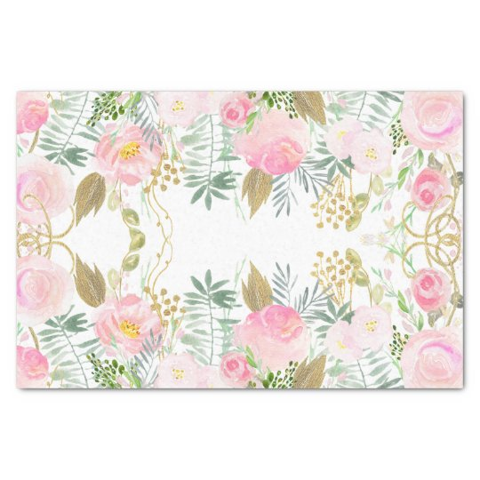 Blush pink gold watercolor flowers tissue paper zazzle blush pink gold watercolor flowers tissue paper mightylinksfo