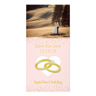 Blush Pink Gold Wedding Rings | Save the Date Card