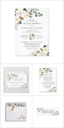 Blush Pink Gold White Floral Wedding Invitations