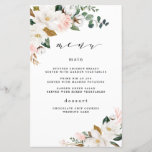 """Blush Pink Gold White Floral Wedding Menu Cards<br><div class=""""desc"""">Designs features elegant magnolia, peony rose, eucalyptus, greenery and other watercolor elements in white, blush pink or pink peach and more. The greenery features shades of dark and light green colors with some elements featuring gold, antique gold and copper. This classy item is versatile for varieties of wedding themes --...</div>"""