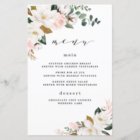 Blush Pink Gold White Floral Wedding Menu Cards