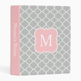 Blush Pink Gray Monogram School Planner Mini Binder