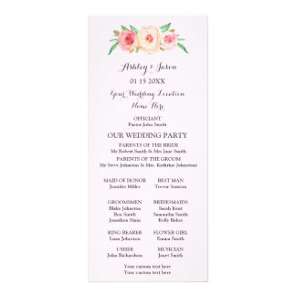 Blush Pink Green Floral Wedding Program