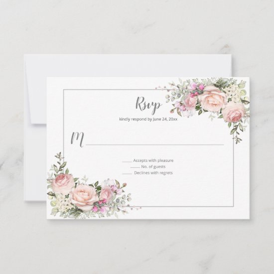Blush Pink Green Gray Watercolor Floral Wedding RSVP Card
