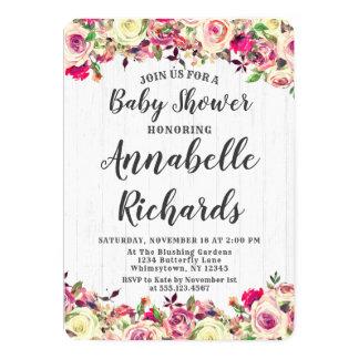 Blush Pink & Green Rose Baby Shower Invitation