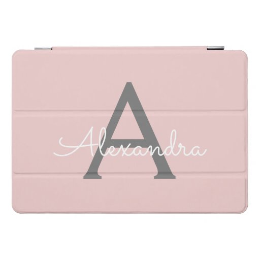 Blush Pink Grey Modern Script Girly Monogram Name iPad Pro Cover