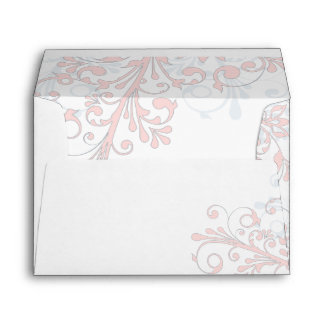 Blush Pink Grey White Floral Wedding A7 Envelopes