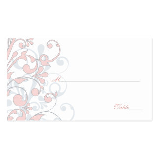 Blush Pink Grey White Floral Wedding Place Cards Business Cards