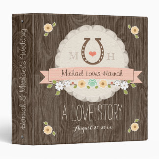 BLUSH PINK HORSESHOE HEART WESTERN WEDDING BINDER