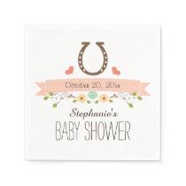 Blush Pink Horseshoe Western Baby Girl Shower Paper Napkin