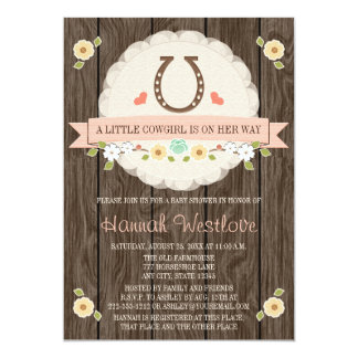 BLUSH PINK HORSESHOE WESTERN COWGIRL BABY SHOWER 5X7 PAPER INVITATION CARD