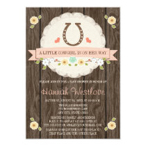 BLUSH PINK HORSESHOE WESTERN COWGIRL BABY SHOWER CARD