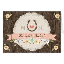 Blush Pink Horseshoe Western Wedding Thank You Card